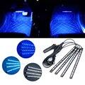 OKY-Car styling 4x12 Carregador de Carro LEVOU Neon Luz Interior 4em1 Flexib Tira Lâmpada 12 V À Prova D' Água atmosfera de Gelo-azul/branco/azul