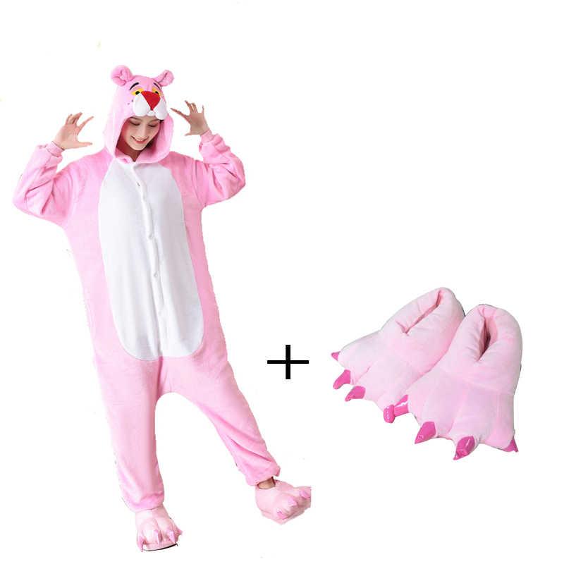 Милые животные кигуруми Розовая пантера женские комбинезон с капюшоном  Комбинезоны для взрослых цельные пижамы с длинным e66a43680f700