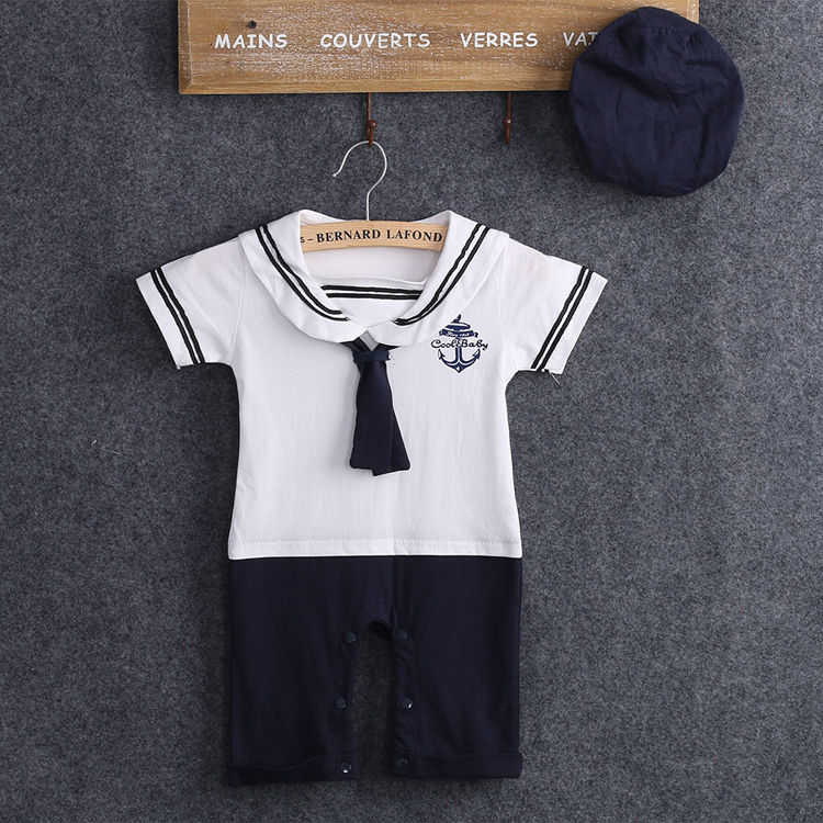 Casual Cute Summer Sea Cotton Toddler Newborn Captain Clothes Baby Boys Clothes Kids   Romper   Playsuit + Hat