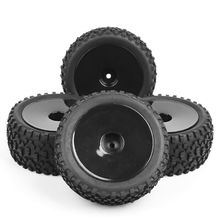 Toys Accessories 4pcs/set 1/10 Buggy Tires Front and Rear Rubber Tyre Wheel Rim 25026+27011 Fit HSP HPI RC Off-Road Buggy Car недорого