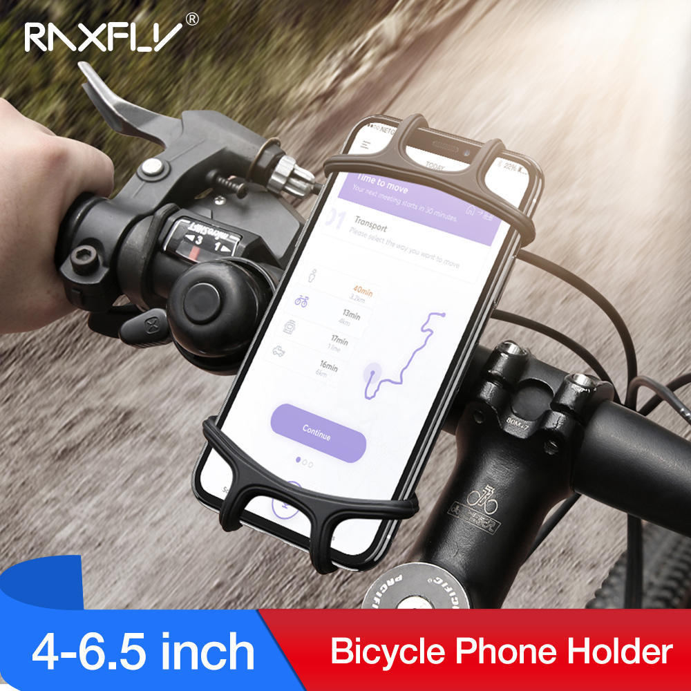 RAXFLY Bicycle Phone Holder For iPhone XS Max 7 Samsung Universal Motorcycle Phone Holder Bike Handlebar Stand Support Bracket-in Phone Holders & Stands from Cellphones & Telecommunications