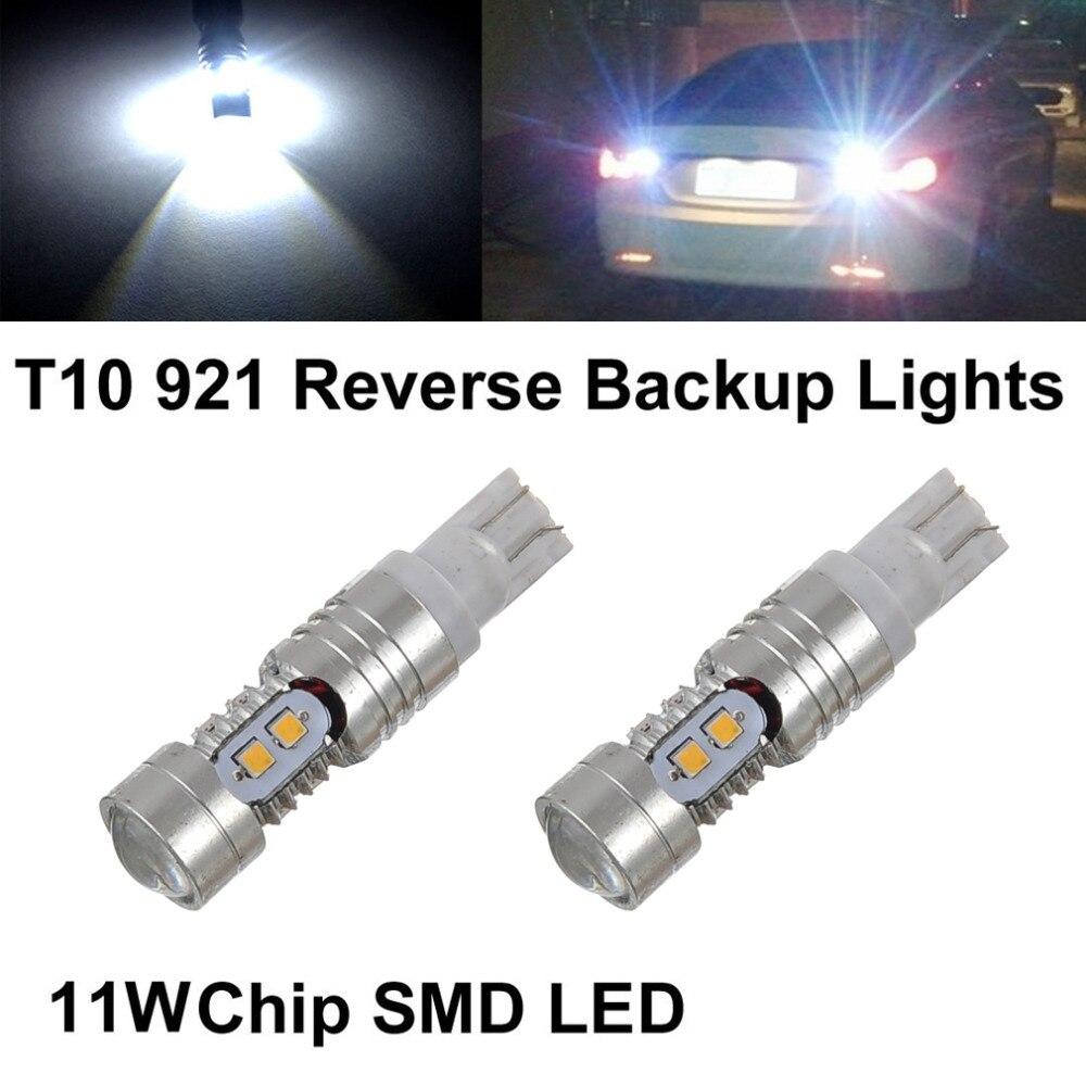 2pcs! Super White 921 T10 DRL LED Car Light Bulb Projector Lens High Power 11W 6000K Auto Back up Reverse Light Lamp 1pc super bright t10 12v 7 5w car led smd back up rear reverse lamp light white 6000k
