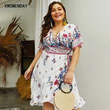 Женское Повседневное платье средней длины с коротким рукавом большого размера плюс богемное Цветочное платье с v-образным вырезом на шнуровке летнее пляжное платье с оборками для отдыха