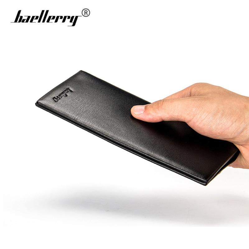 Baellerry Leather Men Wallets Long Mens Wallet Thin Purse Luxury Brand Slim Photo Card Holder Vintage Black Walet Money Bag