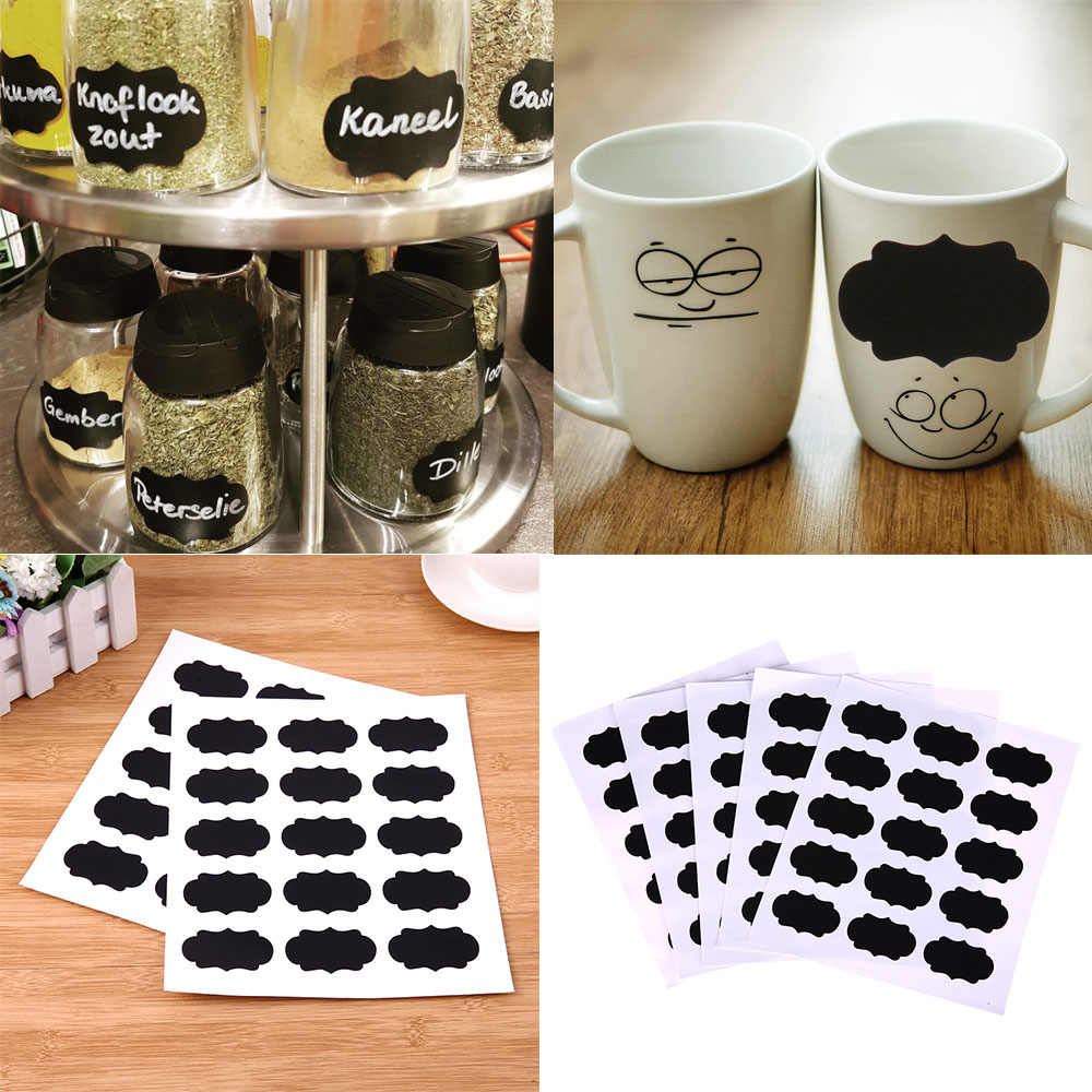 15/36/75pcs Schoolbord Sticker Voor Keuken Kan Fles Jar Stickers Schoolbord Labels Tag Muur Home Decor krijtbord Sticker