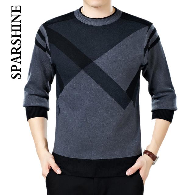 Suéteres de lana de Punto para Hombres Invierno Cálido Sweatershirt Pullover O-cuello de Manga Larga Suéteres Estándar para los Hombres