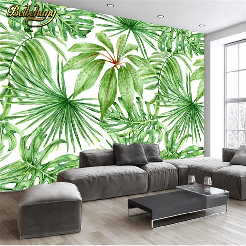 beibehang banana leafy plants wallpaper for living room bedroom mural wall papers 3d desktop. Black Bedroom Furniture Sets. Home Design Ideas
