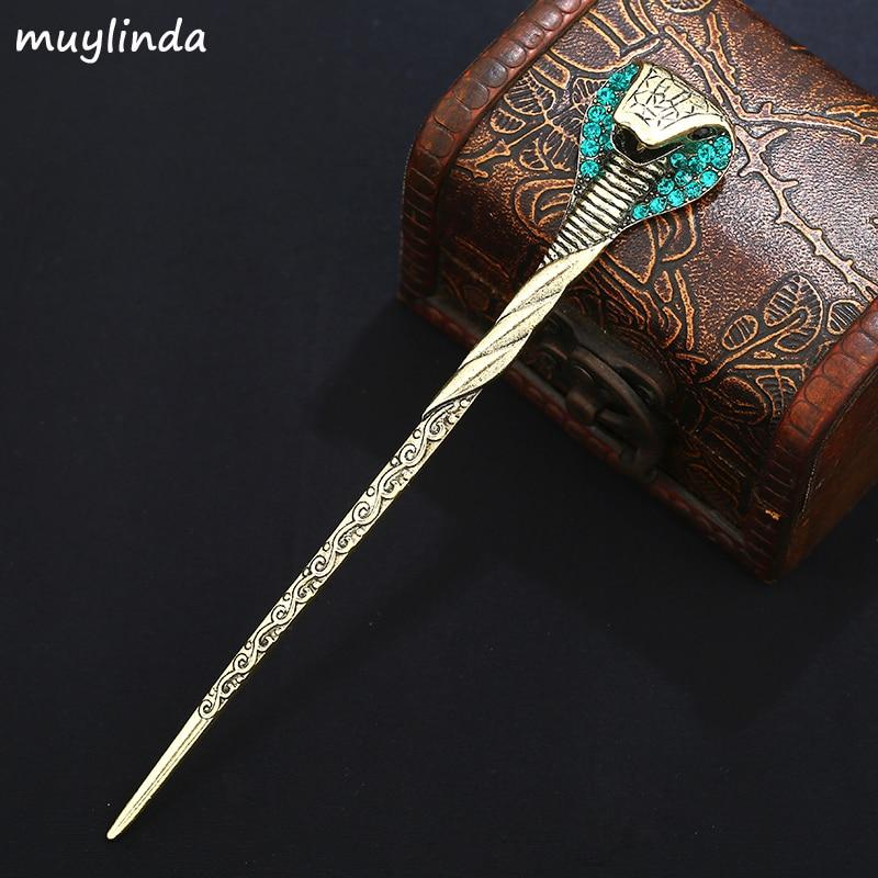 Vintage Snack Hair Pins Rhinestone Hair Stick Clip Crystal Kvinnor Metal Hår Tillbehör Hår Smycken