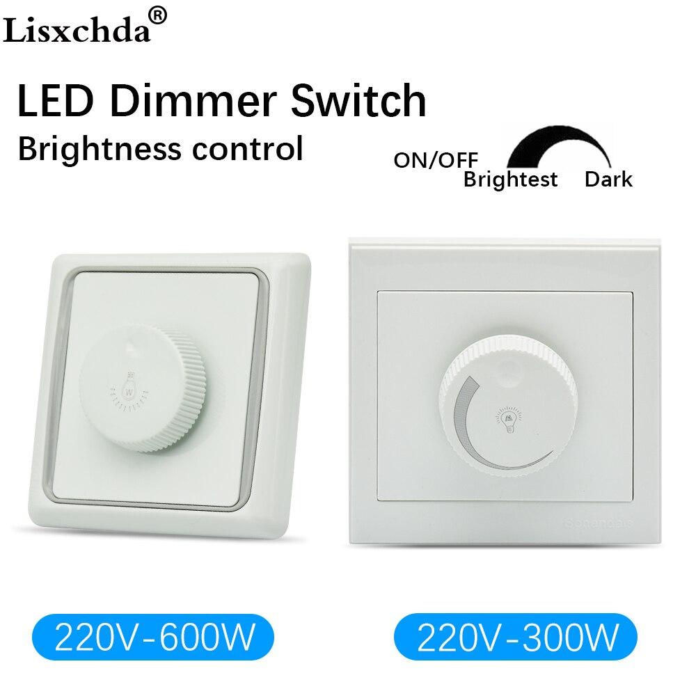 led dimmer 220V 300W 600W Adjustable Controller LED Dimmer Switch For Dimmable Light Bulb Lamp dimmer switch 220V bedroom silver tone knob adjustable light controller dimmer switch