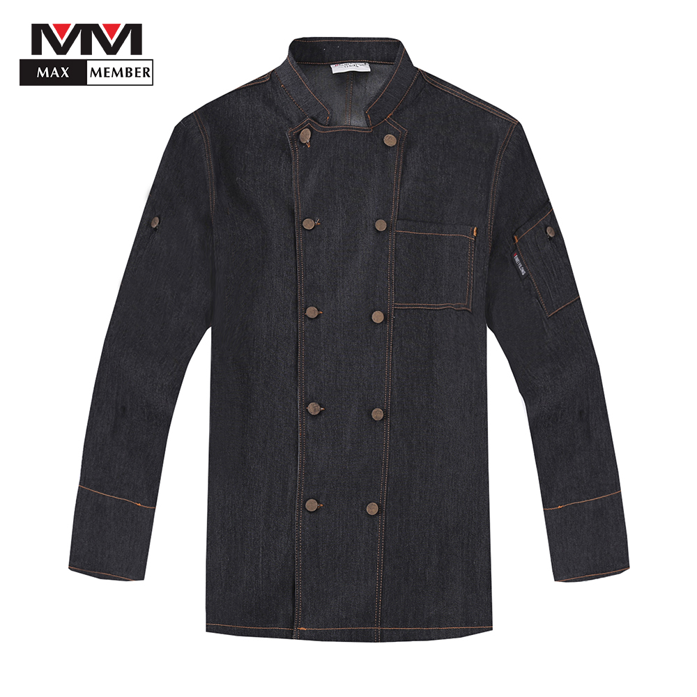 Men's Cooking Workwear Jackets Adjustable Long Sleeve Double Breasted Denim Kitchen Chef Catering Waiter Barber Shop Uniforms