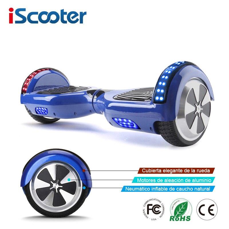 IScooter 6.5 pollice 2 Ruote Elettrico Intelligente Hoverboards con Altoparlante Bluetooth HA CONDOTTO LA Luce Borsa Per Il Trasporto di Auto Bilanciamento del Motorino UL2272