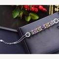 Moda coloridos dulces de color brazalete de turmalina natural turmalina pura plata de ley 925 pulsera de lujo para mujer