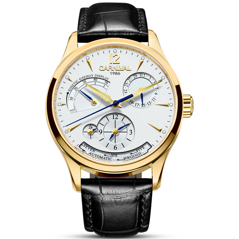 Carnival Men Automatic Watch Two Time Zone Date Energy Display Day 25jewels Back Light Luxury Mechanical