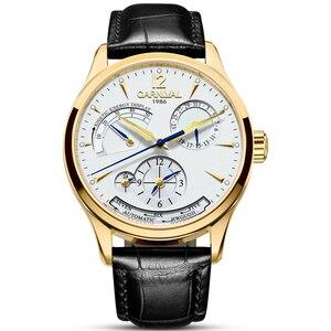 Карнавальные Мужские автоматические часы с двумя часовыми поясами, отображением даты и энергии, 25 драгоценностей, задний светильник, роско...