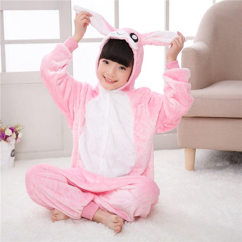 Hot Kids Anime Kigurumi Onesies Rabbit Costume Boys Girls Cute Cartoon Animal Pig Bunny Pajamas One pieces Sleepwear Home Cloths