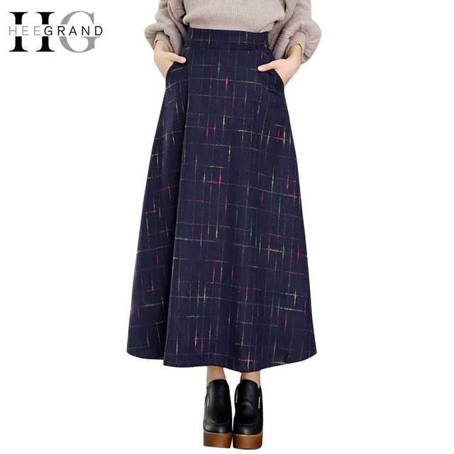 HEE GRAND Women Skirts Autumn Skirts 2018 Elegant Plaid Skirts Fashion  A-Line Saias Classical Wool Mulheres Saia Faldas WQC442 e9271441f4e0