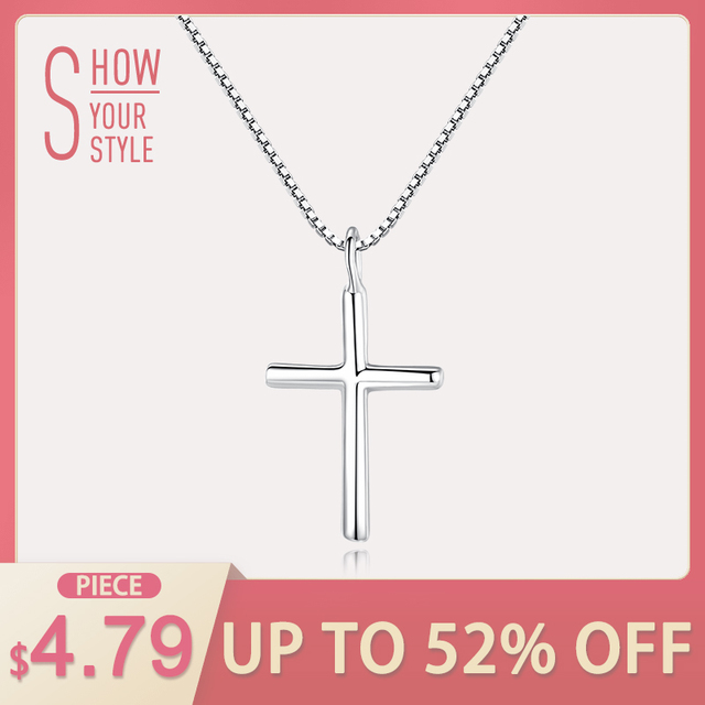 CZCITY Brand Classic Cross Silver Charms Necklaces & Pendants High Quality Women