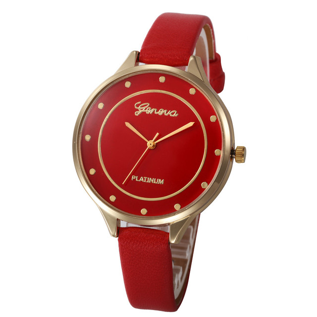Women Watches Geneva Watch Small Faux Leather Quartz Analog Wrist Watch Ladies B