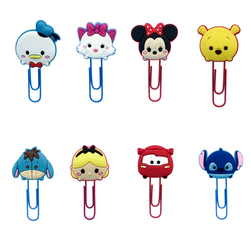 1pcs Kawaii Cartoon PVC Bookmarks For Books Paper Clips School Office Stationery For Teacher Page Holder Kids Birthday Gift