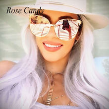 7896ede50a Oversized Mirror Pink Sunglasses Cat Eye Fashion Women Men Sunglasses Female  Shades Hipster Sun Glasses Wholesale