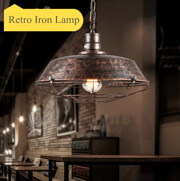 American Country Industrial Vintage Iron Restaurant Bar Cafe Pendant Lamp Creative Loft Style Retro Iron Light Free Shipping loft iron pendant light indutrial vintage loft bar cafe restaurant nordic country style birdcage pendant lights hanging lamp