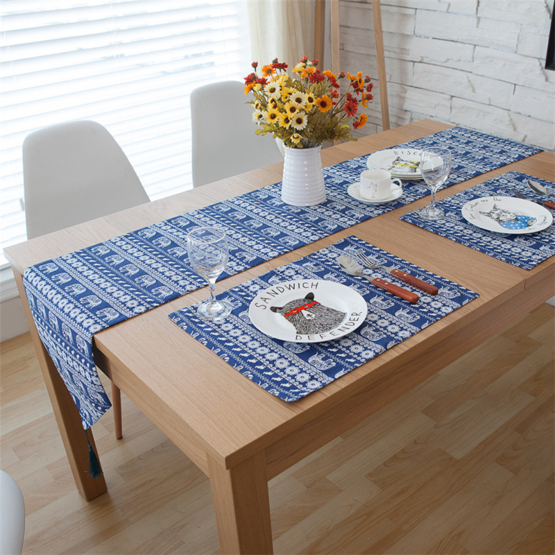 Southeast Asia Table Runners Blue Elephant With Tassels Restaurant  Tablecloths Party Decoration Rustic Table Runner In Table Runners From Home  U0026 Garden On ...