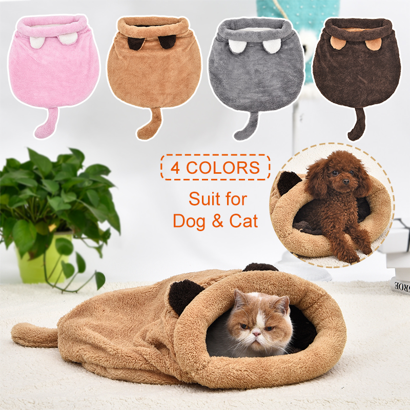 PAWZRoad Lovely Cat Beds Cute Cat Sleeping Bags Soft Warm Cat House Pet Mats Puppy Cushion Small Dog Rabbit Beds Funny 4 Colors