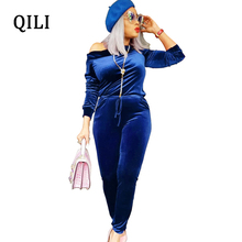QILI Women Off Shoulder Jumpsuits Velvet Long Sleeve Skinny Pants Jumpsuit Dark-Blue Belted Bodycon Plus Size XXL
