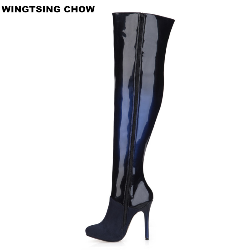 Plus Size 43 Winter Over Knee High Boots Women High Heels Sexy Black High Women Boots Ladies Shoes Patent Leather Boots стоимость
