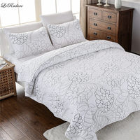 LeRadore 3Pcs Pure Cotton Coverlet Sets Comforter Bedspread Pillowcases Embroidery European Quilted Bedspread Set Queen Size