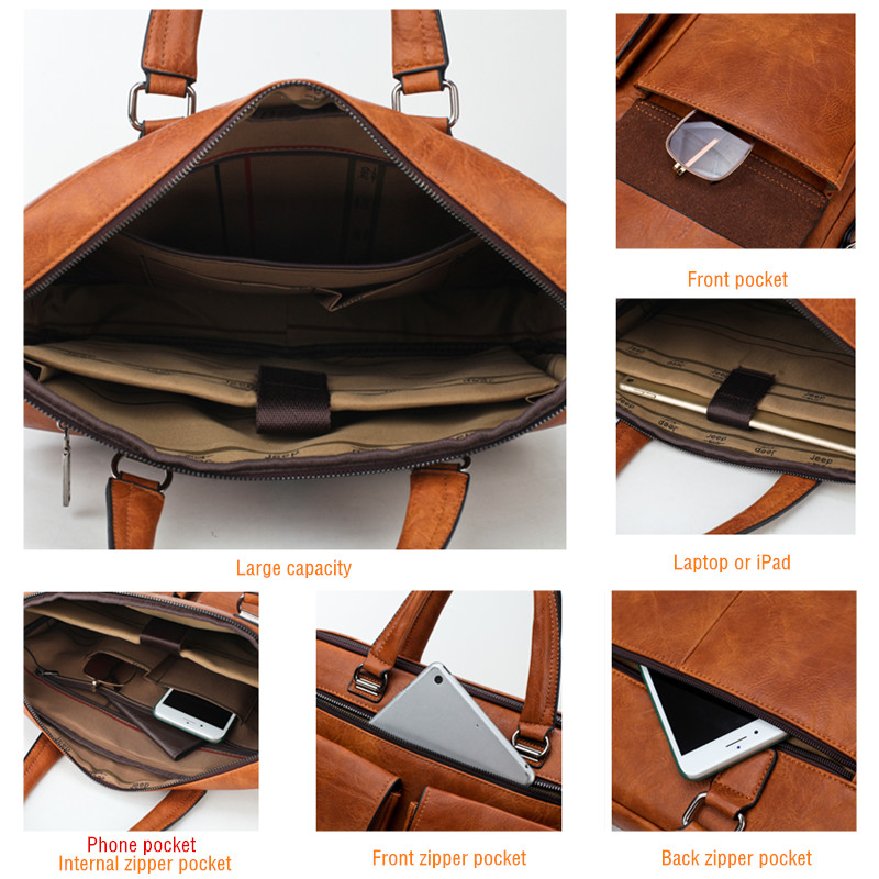 a8bceb9c1f JEEP BULUO Men Business Bag For 13'3 inch Laptop Briefcase Bags 2 in 1 Set  Handbags High Quality Leather Office Bags Totes Male