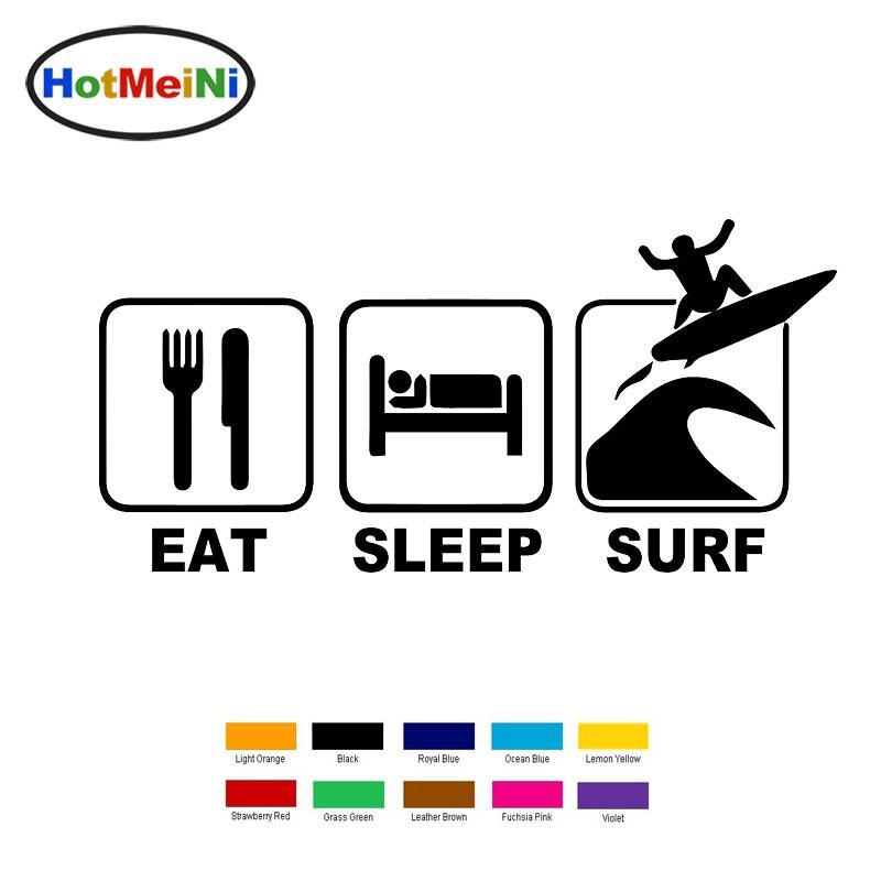 HotMeiNi 18cm x 6cm Eat Sleep Surf Car Sticker For Truck bumper car Window car body JDM Vinyl sticker Black/Silver exc 13 color hotmeini 33cmx69 6cm cute english