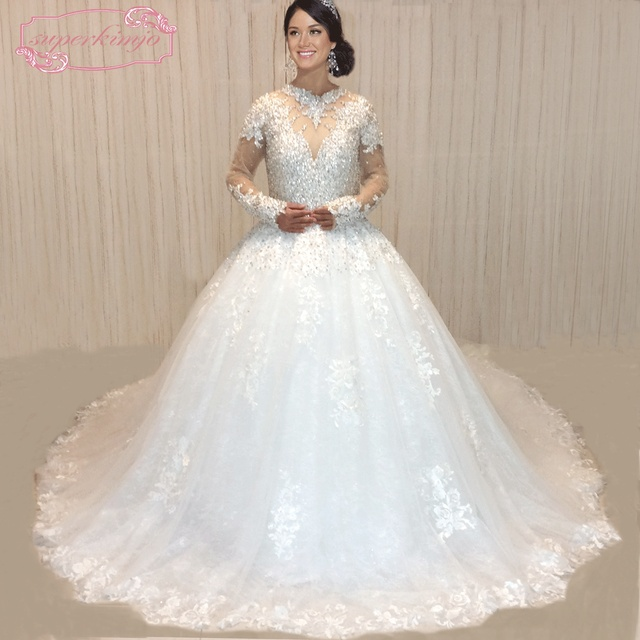 Superkimjo Vestido De Noiva 2018 Photo Reelle Cristaux Robes Mariee Luxe A Manches Longues Brillant Strass Robe Bal Mariage