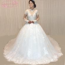 SuperKimJo Vestido De Noiva 2018 Foto Nyata Kristal Wedding Dresses Mewah Lengan Panjang Rhinestones Rhinestones Wedding Ball Gown