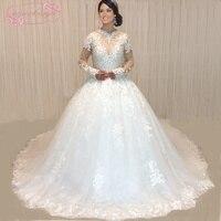 SuperKimJo Vestido De Noiva 2018 Real Photo Crystals Wedding Dresses Sang Trọng Dài Tay Áo Kim Cương Giả Lấp Lánh Wedding Gown Bóng