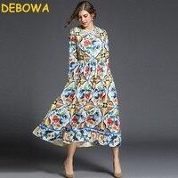 Debowa 2018 Neue Frühlingsfrauen Kleiden Blumendruck Elegante Lange Kleid Vintage Blauen Und Weißen Porzellan Maxi Kleid