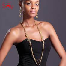 Sunny Jewelry African Beads Long Chain Earrings Women's Jewelry Sets High Quality Round Hollow Out For Party Wedding Anniversary