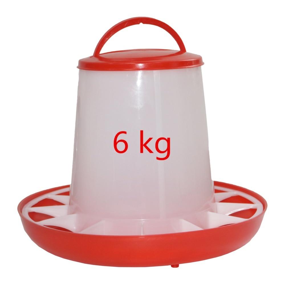 2 sets 6kg Lid Chicken farming tool Pheasant feeding bucket Quality Chickens, ducks and quail dove Bird Feeder Safe hanging flat