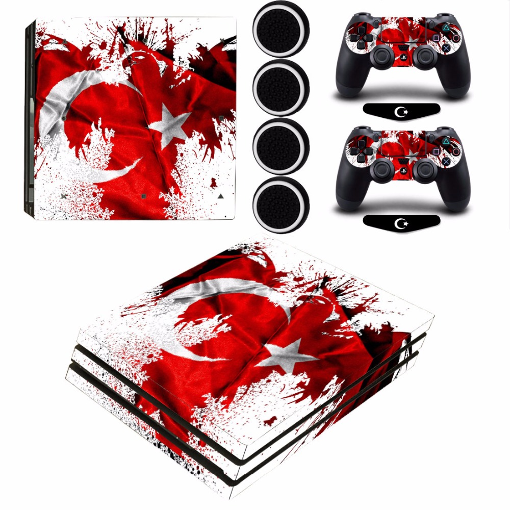 Turkey National Flag Protective Sticker Decal and 2 Gamepad Skins+2x LED Stickers +4x Caps For PS4 Pro Console