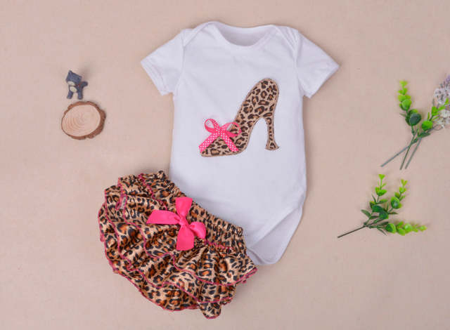 7c3c4f0b9c82 Online Shop Baby girl kids boutique outfits Infant Cotton White romper  Leopard Bloomers Shorts Headband Newborn Girl Clothes Sets