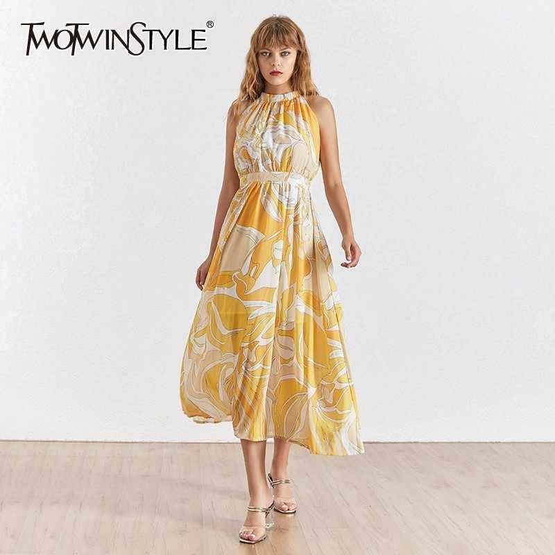 TWOTWINSTYLE ノースリーブホルタープリントドレス夏の女性のノースリーブホリデーミディ女性のファッションの服 2019 新