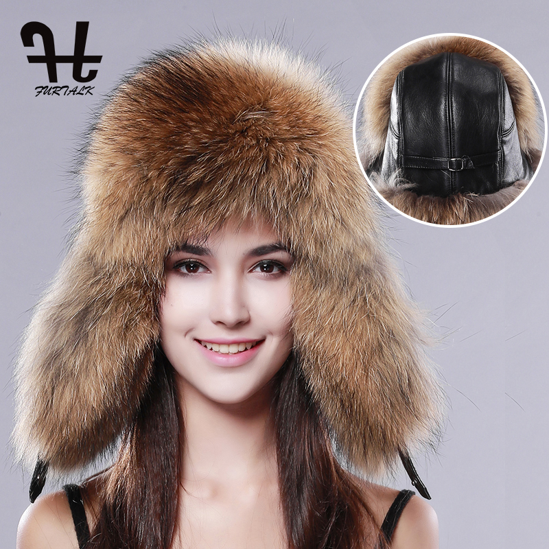 FURTALK Women s Russian Raccoon Lamb Leather Cap Ushanka trapper Hats for women winter fur hat