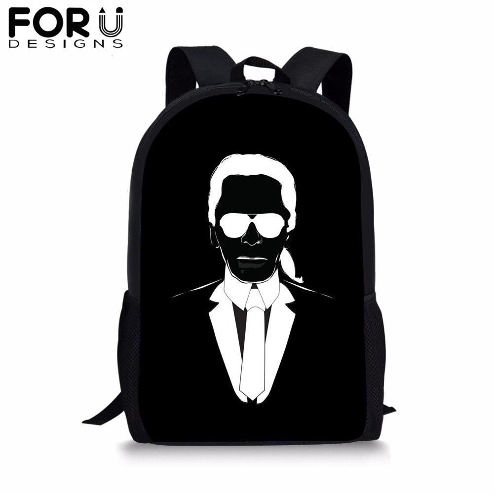 FORUDESIGNS Black School Backpack for Teenager Girl Students Karl Lagerfelds Cartoon BookBag 16 inch Satchel Daypack Boy Mochila in School Bags from Luggage Bags