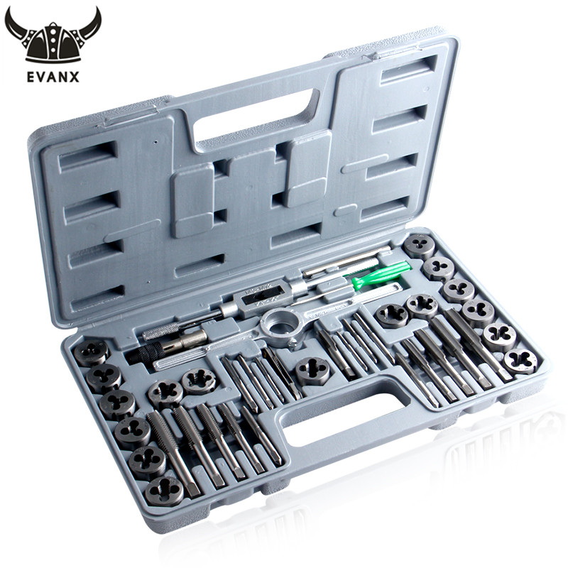 EVANX 40pcs Tap Die Set Hand Thread Plug Taps Handle Alloy Steel Inch Threading Tool With Case 40pcs tap