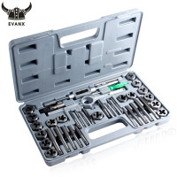 EVANX 40pcs Tap Die Set Hand Thread Plug Taps Handle Alloy Steel Inch Threading Tool With Case