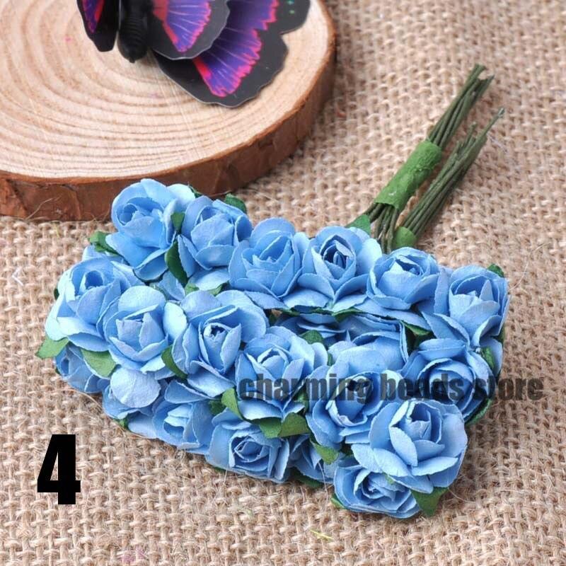 24 шт. 15 мм мини искусственный Бумага розы букет Свадебный декор Скрапбукинг DIY cp0022x - Цвет: 4