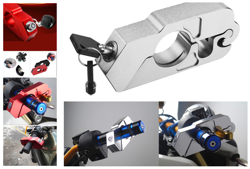 Motorcycle ATV Aluminum Alloy Anti-theft Security Lock Handle Brake For