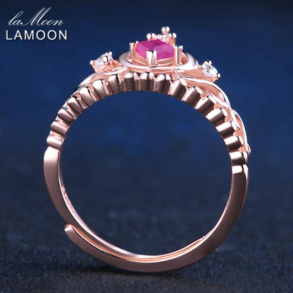 LAMOON- 실버 925 보석 공주 컷 0.2ct 100 % 진짜 루비 천연 - 화인 주얼리 - 사진 5