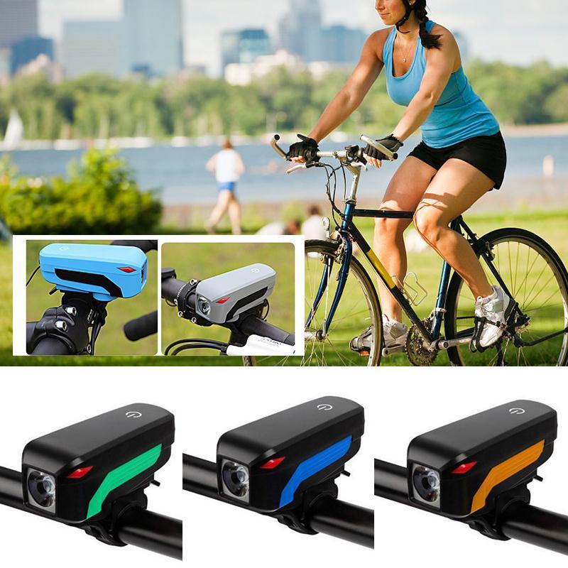 Велоспорт горного велосипеда колокол Электрический 140 дБ Рог Велосипедный Спорт Фары для автомобиля вокальный зарядка через USB Ночная езда ...
