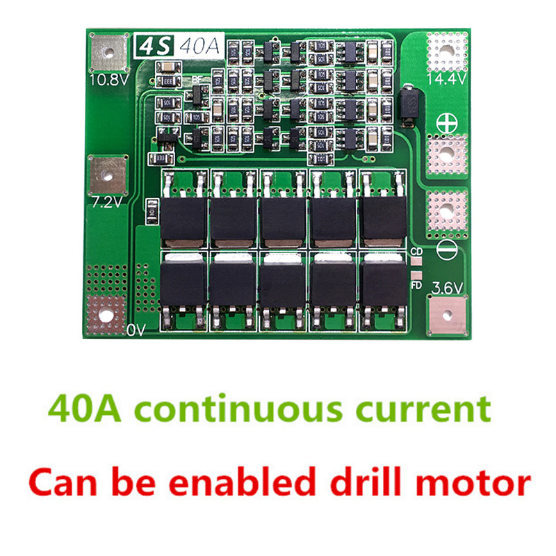 2PCS 4S 40A Iron Lithium Battery Charger Protection Board 12.8V 14.4V Lipo Cell Module With Balance For Drill Motor  PCB BMS